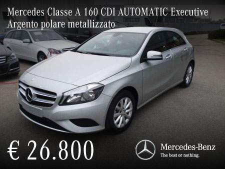 mercedes classe a 160 cdi automatic executive argento polare metallizzato